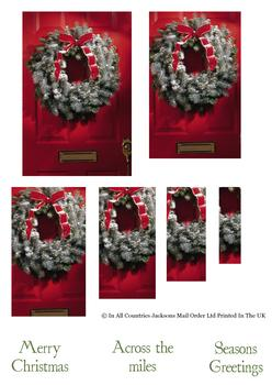 Christmas is here! Red Door with Festive Wreath - Topper Sheet . -Jacksons mail Order