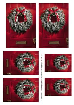 Christmas is here! Red Door with Festive Wreath - Pyramid Sheet -Jacksons mail Order