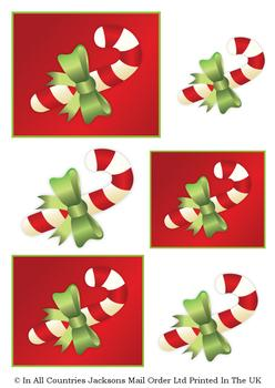 Candy Sweet Christmas Cane with Green Bow - TOPPER SHEET . -Jacksons mail Order