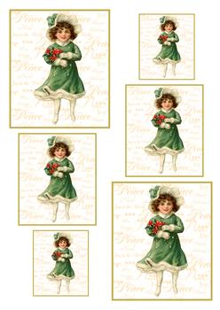A4 Vintage Christmas Girl - Pyramid Sheet 1 *