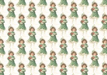 A4 Vintage Christmas Girl - Background Sheet *