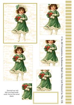 A4 Vintage Christmas Girl - Pyramid Sheet 2 *