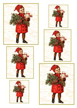 A4 Vintage Christmas Boy - Pyramid Sheet 1 *