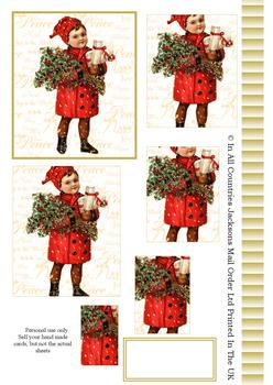 A4 Vintage Christmas Boy - Pyramid Sheet 2 *