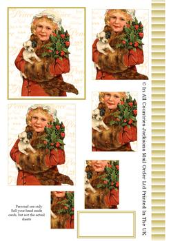 A4 Christmas Themed Girl with Puppy - Pyramid Sheet 2 . *
