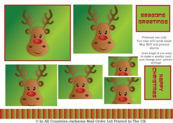 Rudolph Reindeer - A4 Pyramid Sheet *