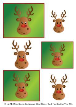 Rudolph Reindeer - A4 Topper Sheet . *