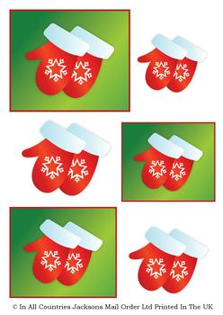 Christmas Mittens - A4 Topper sheet *