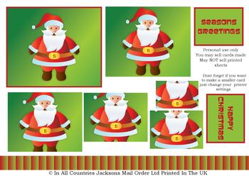 Cute Father Christmas - A4 Pyramid Sheet . *