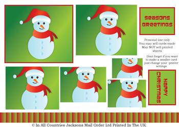 Cute Christmas Snowman - A4 Pyramid Sheet = *