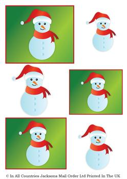Cute Christmas Snowman - A4 Topper Sheet *