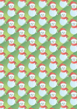 Cute Christmas Snowman - A4 Background Sheet *