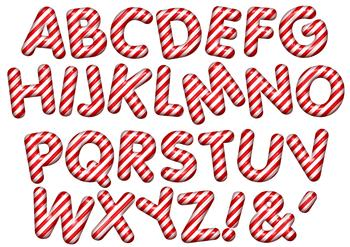 Candy Cane Alphabet - Exclusive Topper Sheet *