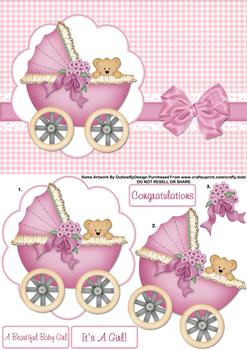Congratulations Cute Baby Girl -  Papertole Exclusive Topper Sheet . *