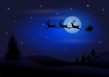 Santa & His Sleigh - A4 Card Front . *