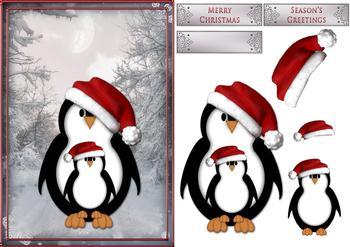 Christmas Penguin Topper Sheet *
