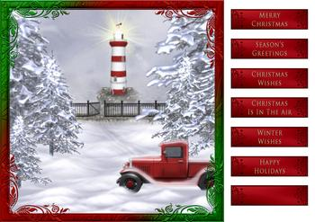 Christmas Waterfront & Lighthouse 8x8 Card Front *