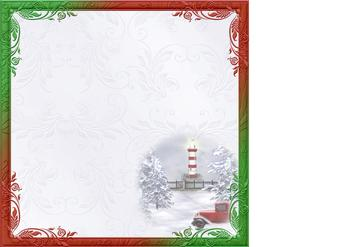 Christmas Waterfront & Lighthouse 8x8 Insert *