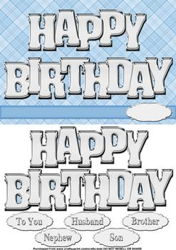 Male Themed Happy Birthday A5 Card Front -  Papertole Exclusive Sheet . *