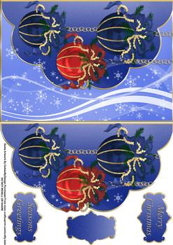 Christmas Baubles Envelope Card - Papertole Exclusive Topper Sheet . *
