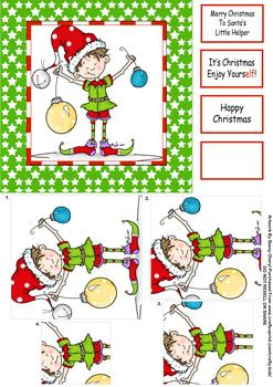 Little Elf Christmas Card by Sassy Cheryl  - Papertole Exclusive Topper Sheet . *