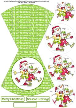Silly Snowmen Christmas Shaped Card - Papertole Exclusive Sheet *