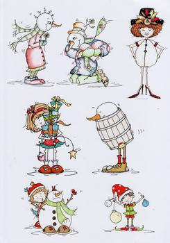 8 Toppers on One Sheet - Christmas Silly Snowman in a Barrel with Silly Girl - Papertole Exclusive Sheet . .