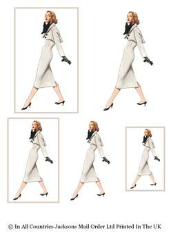 Vintage Fashion - Lady in Grey Suit perfect for Mother Auntie Sister Daughter Grand Daughter - Topper Sheet - 3 Projects different sizes . -Jacksons mail Order