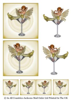 Martini Glass Fairies - GOLD - Topper Sheet - different sizes - . -Jacksons mail Order