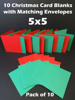 5x5 Red and Green Cards & Envelopes (10 Pack) . -Jacksons mail Order