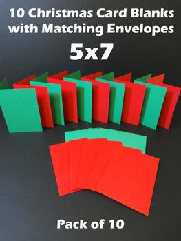 5x7 Red and Green Cards & Envelopes (10 Pack) .. -Jacksons mail Order