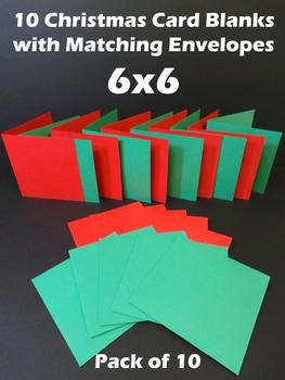 6x6 Red and Green Cards & Envelopes (10 Pack) . -Jacksons mail Order