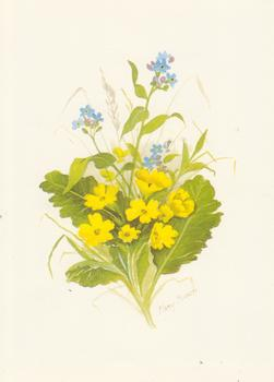 Yellow Wild Flowers with leaves - Print Size is 5