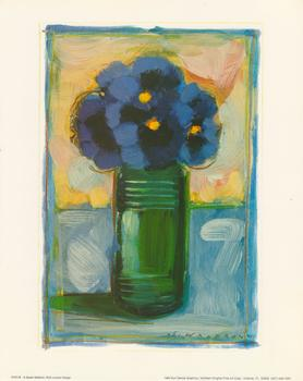 Blue Flowers in Green Vase **Still Life Print** by Sarah Waldron - 10