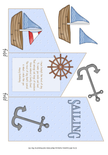 Cascade Tri Fold Sheet - Birthday Sailing 3d Card Art RRP 75p