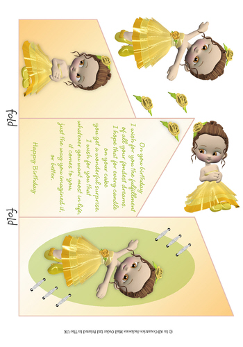 Cascade Tri Fold Sheet - Birthday Girl 3d Card Art RRP 75p