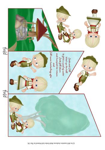 Cascade Tri Fold Sheet - Jack and Jill - Open Sentiment 3d Card Art RRP 75p