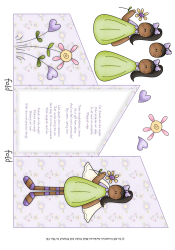 Cascade Tri Fold Sheet - Friendship Sentiment 3d Card Art RRP 75p