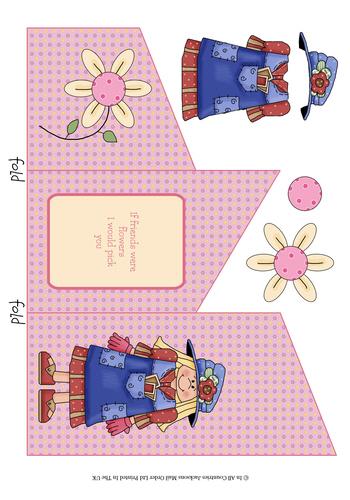 Cascade Tri Fold Sheet - If Friends Were Flowers 3d Card Art RRP 75p