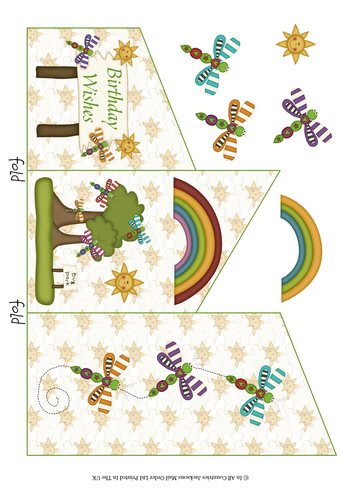 Cascade Tri Fold Sheet - Birthday Wishes 3d Card Art RRP 75p