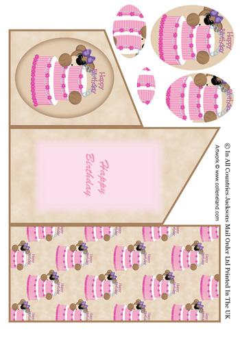 Cascade Tri Fold Sheet - Birthday Girl Bear 3d Card Art RRP 75p