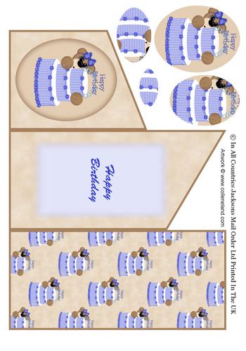 Cascade Tri Fold Sheet - Birthday Boy Bear 3d Card Art RRP 75p