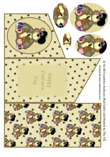 Cascade Tri Fold Sheet - Happy Fathers Day Bear 3d Card Art RRP 75p