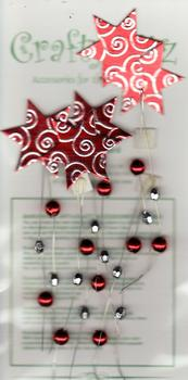 5 x Red Bead and Star Card Topper Embellishments . *