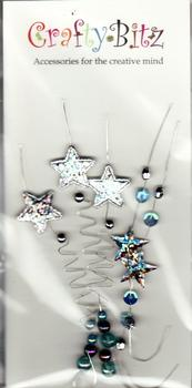 Silver & Blue Beaded Card Topper Embellishments Bargain Basement *