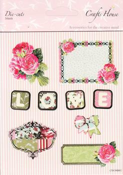 3 x Sheets of Roses / Love Pretty Floral Die Cut Set . *