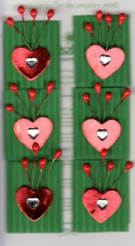 6 x Red Hearts on Green Background Jewelled Card Embellishment *