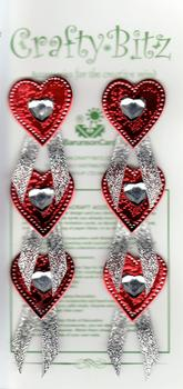 Sparkling Glitzy Red Hearts with a Silver Heart Jewels in the Centre *