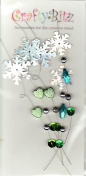 Beautiful Wired Jewelled Embellishments - Green Hearts & Silver Snow Flakes . *