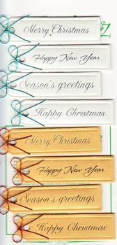 8 x Pearlised White & Gold Christmas Tags with Sentiments
